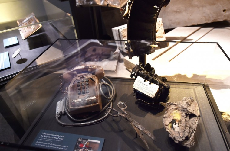 Detail of objects found after the September 11, 2001 attack on the Pentagon, seen during a press preview of the National September 11 Memorial Museum at the World Trade Center site May 14, 2014 in New York. (Stan Honda/Getty Images)