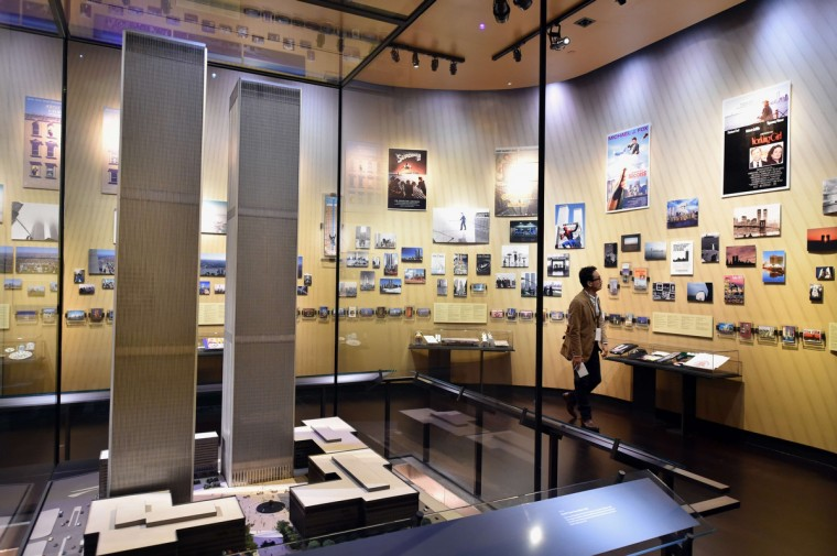 A model of the World Trade Center buildings, seen during a press preview in the National September 11 Memorial Museum at the World Trade Center site. (Stan Honda/Getty Images)