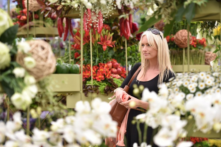 A woman walks among the displays inside the pavillion at the Chelsea Flower Show in west London, on May 19, 2014. The Chelsea flower show, held annually in the grounds of the Royal Hospital Chelsea, will run this year from May 20-24. (Leon Neal/Getty Images)