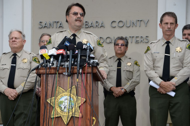Santa Barbara County Sheriff Bill Brown speaks at a press conference regarding murder suspect Elliot Rodger, at a press conference in Goleta, California May 24, 2014. Rodger, 22, went on a rampage in Isla Vista near the University of California at Santa Barbara campus, stabbed three people to death at his apartment before shooting to death three more in a terrorizing crime spree through the neighborhood. (AFP/Getty Images)