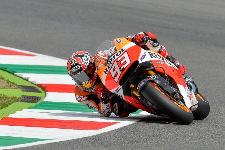 """Spain's Marc Marquez of the Honda team rides his bike during free practice session """"number 3"""" of the Italian Grand Prix on Mugello's racetrack . (Andreas Soloro/AFP/Getty Images)"""