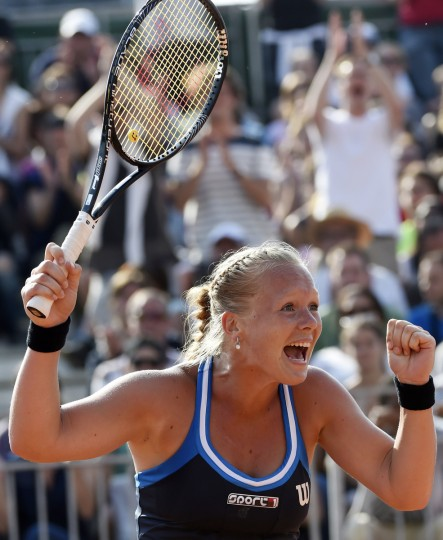 Netherland's Kiki Bertens celebrates her victory over Spain's Silvia Soler-Espinosa at the end of their French tennis Open third round match at the Roland Garros stadium in Paris. (Dominique Faget/AFP/Getty Images)