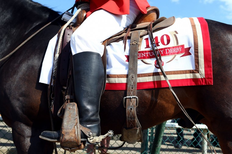 A detailed view of and out rider's horse and the Derby logo prior to the 140th running of the Kentucky Derby at Churchill Downs on May 3, 2014 in Louisville, Kentucky. (Photo by Andy Lyons/Getty Images)