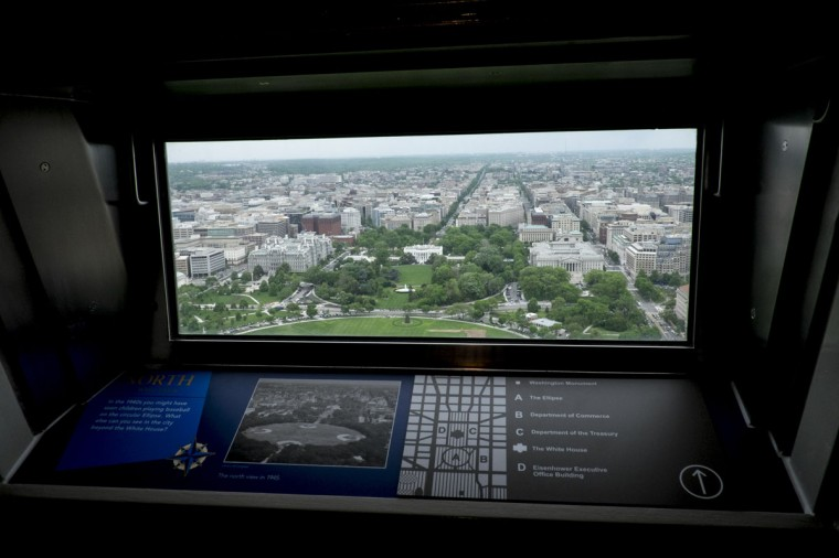 A view of the White House and a new locator map inside the Washington Monument that was shown during a preview tour for the media prior to its reopening. (Photo by Pete Marovich/Getty Images)