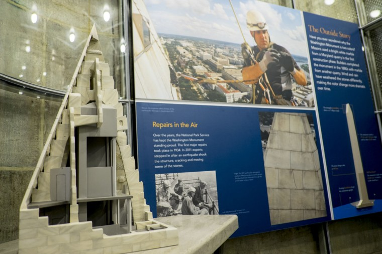 A view of a new exhibit inside the Washington Monument that was shown during a preview tour for the media prior to its reopening. (Photo by Pete Marovich/Getty Images)