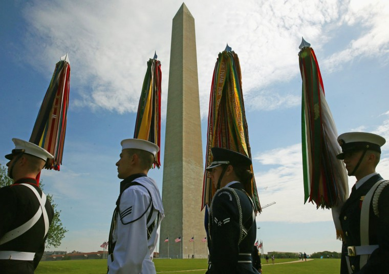 A Military Honor Guard participates in the reopening ceremony at the Washington Monument. (Photo by Mark Wilson/Getty Images)