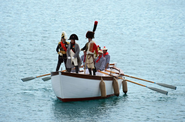 Italian enthusiast Roberto Colla performs as Napoleon Bonaparte on May 4, 2014, upon his arrival at the harbor of Portoferraio on the Italian island Elba. (VINCENZO PINTO/AFP/Getty Images)