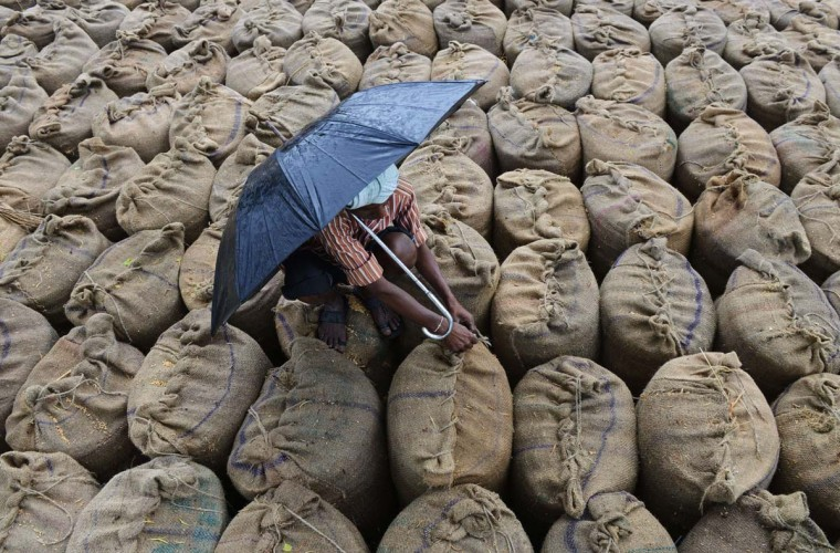 Indian farmer Mekhala Anjaneyulu seals wet bags of unpolished rice to be dried after unseasonal overnight rains soaked the area at the Agriculture Market Yard at Jangaon Mandal of Warangal District, about 85 kms from Hyderabad, on May 9. Some 2.1 million tonness of rice were soaked in the unexpected rainfall causing severe problems for farmers selling their grain.  || CREDIT: NOAH SEELAM - AFP/GETTY IMAGES