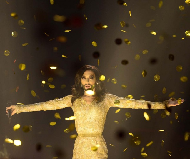 """Conchita Wurst representing Austria performs the song """"Rise Like A Phoenix"""" after winning the Eurovision Song Contest 2014 Grand Final in Copenhagen, Denmark, on May 10, 2014. AFP PHOTO"""