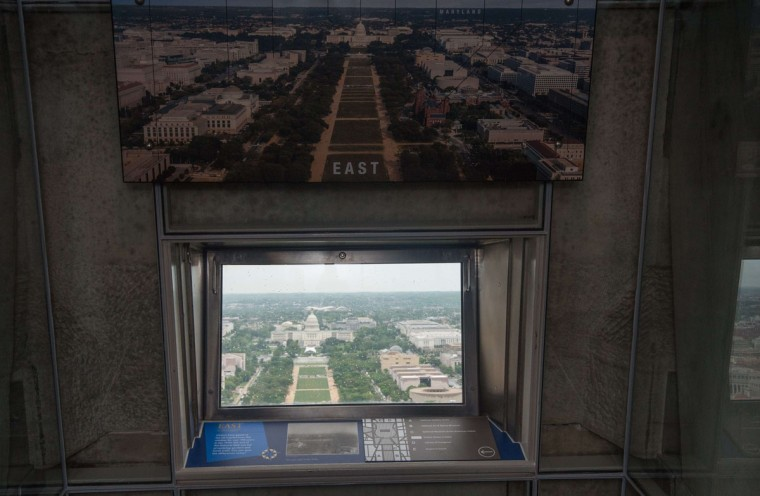 A view of the US Capitol taken from the Washington Monument in Washington on May 10, 2014 during a preview prior to the official re-opening of the monument after repairs to damage caused by the August 23, 2011 earthquake. (NICHOLAS KAMM/AFP/Getty Images)