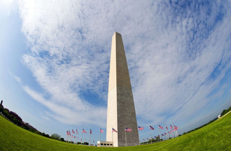 The Washington Monument is seen through a wide angle lens May 12, 2014 in Washington, DC. (KAREN BLEIER/AFP/Getty Images)