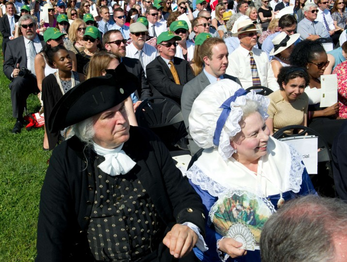 Reenactors portraying first US President George Washington and his wife Martha, look on May 12, 2014 during re-opening ceremonies at the Washington Monument. (KAREN BLEIER/AFP/Getty Images)