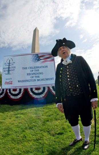 A reenactor portraying first US president George Washington arrives for the Washington Monument re-opening ceremonies. (KAREN BLEIER/AFP/Getty Images)