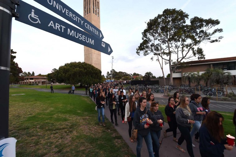 Students gathered for a candlelight vigil on the University of California Santa Barbara campus May 24, 2014 to remember those killed Friday night during a rampage in nearby Isla Vista. (Robyn Beck/AFP/Getty Images)