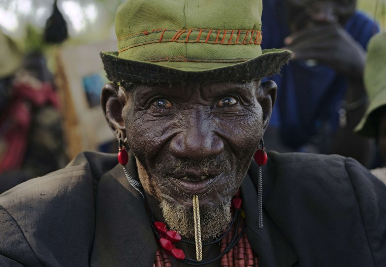A man from the Toposa tribe in Naurus, Greater Kapoeta on May 24, 2014. The Toposa of South Sudan are closely related to the Turkana of Kenya, Karamoja of Uganda, and Merille of Ethiopia. Together, they form the largest ethnic group in eastern Africa covering the Elemi triangle. (Ali Ngethi/AFP/Getty Images)