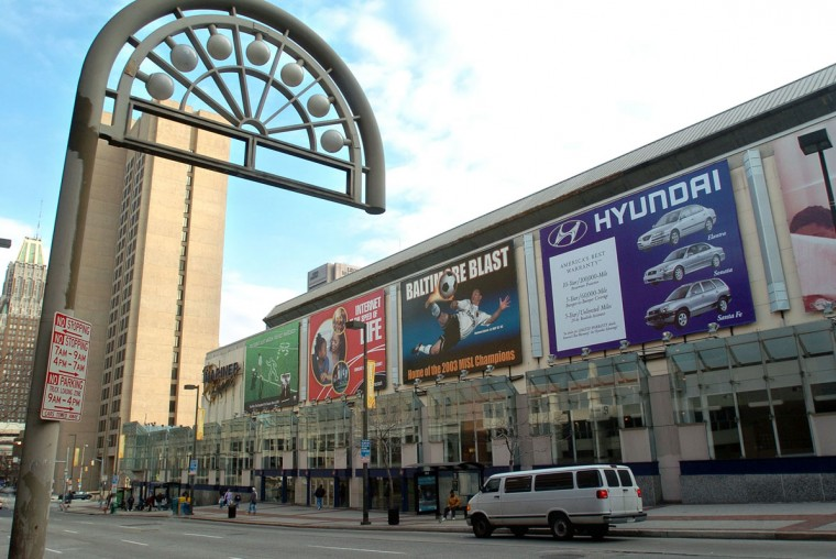 This is the First Mariner Arena with billboards hanging on the exterior on two sides. (Sun photo by Algerina Perna)