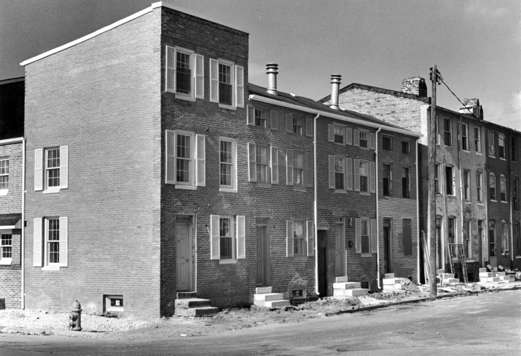 Oct. 8, 1978 -- Houses in the 600 block of West Conway street, typical of the renovation project underway in Ridgely's Delight. Richard Diener, developer and real estate broker, purchased about 50 run-down houses from the city and is selling them for $45-$65,000. Buyers so far have tended to be in their 30s, Mr. Diener says, and include an architect, a school teacher, a dentist and an engineer. 7 units were occupied, three sold and 4 on the verge of completion. (Baltimore Sun file)Oct. 8, 1978 -- Houses in the 600 block of West Conway street, typical of the renovation project underway in Ridgely's Delight. Richard Diener, developer and real estate broker, purchased about 50 run-down houses from the city and is selling them for $45-$65,000. Buyers so far have tended to be in their 30s, Mr. Diener says, and include an architect, a school teacher, a dentist and an engineer. 7 units were occupied, three sold and 4 on the verge of completion. (Baltimore Sun file)