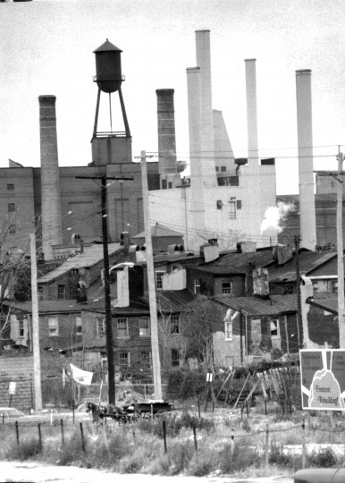 Buildings of all sorts tower of one of Baltimore's familiar hucksters in this photo of Ridgely's Delight near Washington Boulevard. (Weyman Swagger/Baltimore Sun file/Nov. 12, 1976)