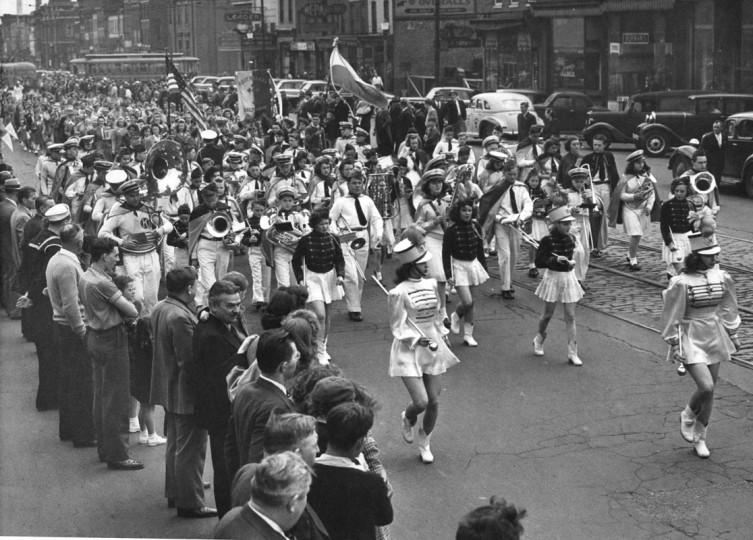Polish Parade moving up Broadway North of Eastern Avenue. May 1945 (Baltimore Examiner and Washington Examiner)