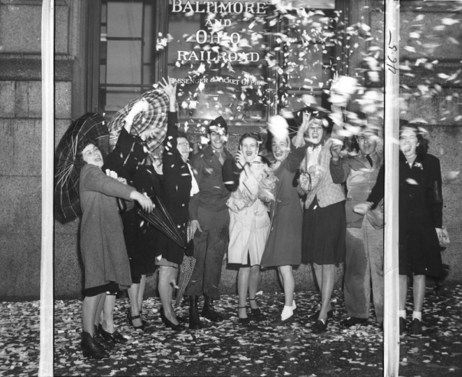 WWII in Baltimore: 2nd V.E. Day Celebration on Chase and Baltimore Streets. (Baltimore Examiner and Washington Examiner)