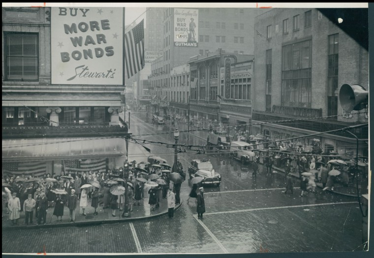 Photo Made on May 8th 1945 during Presidents Truman's Address at Howard and Lexington Streets. (Photo by Baltimore Sun Photographer A Aubrey Bodine)