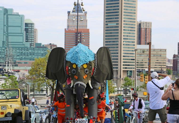 The annual Kinetic Sculpture Race kicked off this year starting at the American Visionary Art Museum and wound its way through Federal Hill, the Inner Harbor, Canton and Patterson Park. The Elephant, an AVAM favorite, made its way up the steep hill to the park. (Kaitlin Newman/Baltimore Sun)