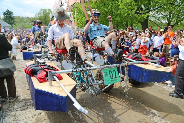 The annual Kinetic Sculpture Race kicked off this year starting at the American Visionary Art Museum and wound its way through Federal Hill, the Inner Harbor, Canton and Patterson Park. The Agogosaurus triumphed over the mud. (Kaitlin Newman/Baltimore Sun)