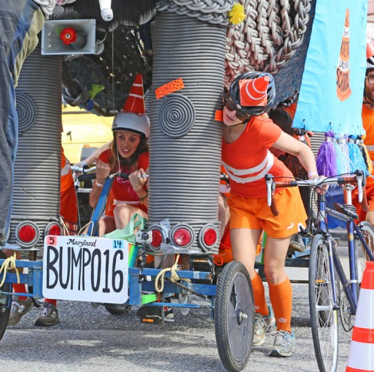 The annual Kinetic Sculpture Race kicked off this year starting at the American Visionary Art Museum and wound its way through Federal Hill, the Inner Harbor, Canton and Patterson Park. Team Elephant pedaled their way up the hill. (Kaitlin Newman/Baltimore Sun)