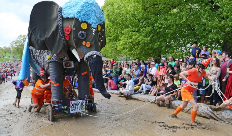 The annual Kinetic Sculpture Race kicked off this year starting at the American Visionary Art Museum and wound its way through Federal Hill, the Inner Harbor, Canton and Patterson Park. The elephant makes it through the Patterson Park mud pit obstacle. (Kaitlin Newman/Baltimore Sun)