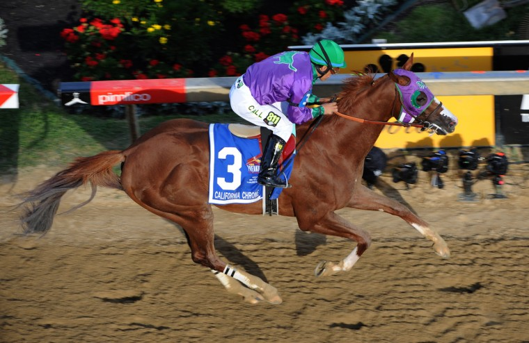 California Chrome, ridden by Victor Espinoza, wins the 139th Preakness Stakes. (Jerry Jackson/Baltimore Sun)