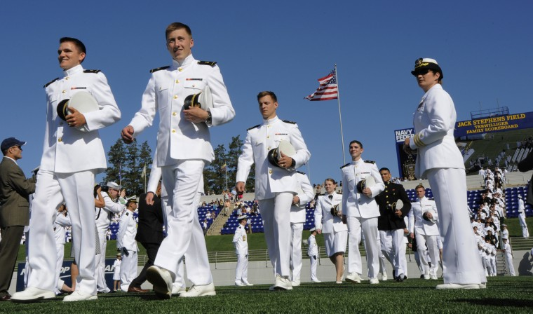 The procession of the graduating midshipmen. United States Naval Academy Graduation and Commissioning Ceremonies held at the Navy Marine Corps Memorial Stadium. Lloyd Fox/Baltimore Sun.