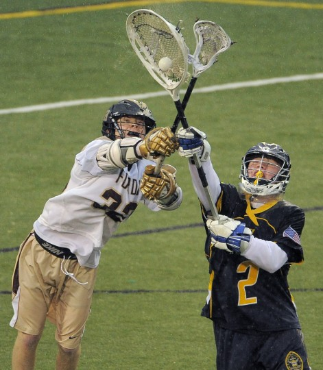 AJ Barretto, right, intercepts the ball in front of Haverford Ford's Shane McBride during the 2014 PNC Lacrosse Invitational at Ridley Athletic Complex. (Karl Merton Ferron/Baltimore Sun)