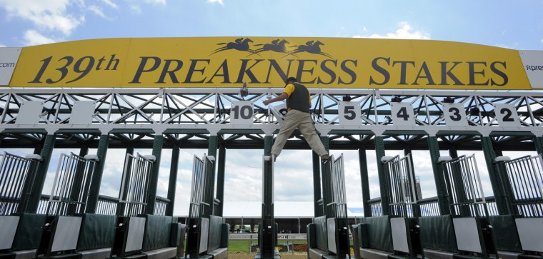 A track worker climbs onto the starting gate at Pimlico to adjust the numbers for the next race. (Lloyd Fox/Baltimore Sun)