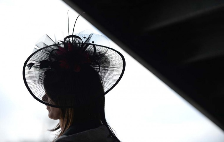 Donna Mitchell of Pittsburgh watches the races at Pimlico. 139th Preakness Stakes at Pimlico Race Course. (Lloyd Fox/Baltimore Sun)