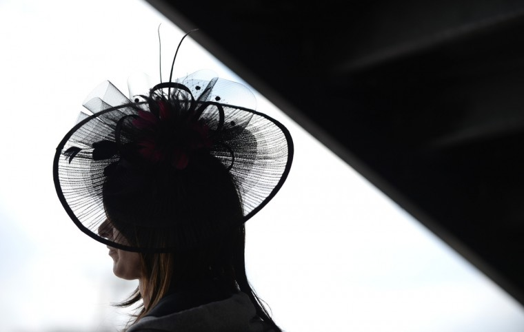 Donna Mitchell of Pittsburgh watches the races at Pimlico. (Lloyd Fox/Baltimore Sun)