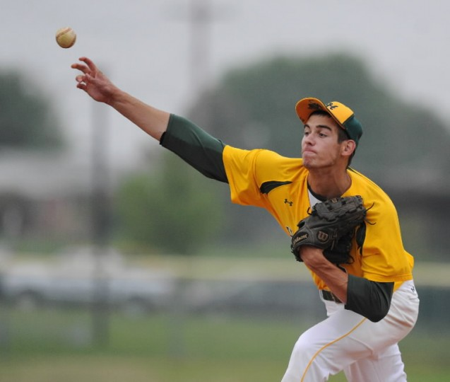 North Harford pitcher Brian Shaffer makes the pitch to the waiting C. Milton Wright batter during Monday's game at North Harford. (Matt Button, Baltimore Sun Media Group)