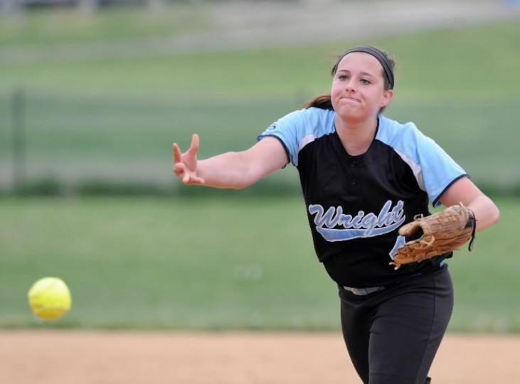 C. Milton Wright pitcher Morghan Fulton delivers the pitch to the waiting North Harford batter during Monday's 3A North Section II game at North Harford. (Matt Button, Baltimore Sun Media Group)