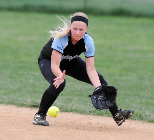 C. Milton Wright's Katelyn Hamlin scoops up the North Harford infield grounder during Wednesday's 3A North Section II game at North Harford. (Matt Button, Baltimore Sun Media Group)