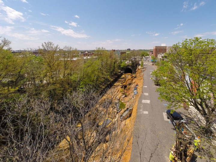 An aerial photo of the Baltimore landslide scene shows the destruction as cleanup efforts continued Thursday after part of 26th Street collapsed onto a CSX railroad track Wednesday following heavy rains. (Photo courtesy of Elevated Element/ElevatedElement.com)