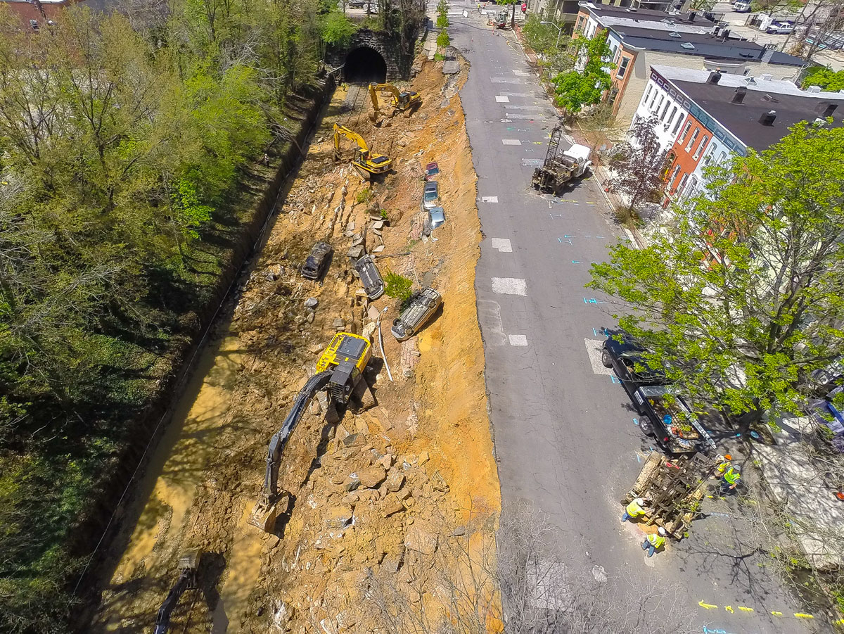 Aerial photos of the Baltimore landslide scene