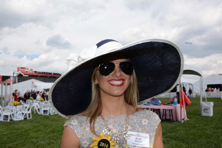 "Kati Davis, 31, Fulton, Md., stay-at-home mom. ""Because this may be the [only] time I'll be here [at Preakness], I wanted to go with something big,"" she said. (Sloane Brown/For the Baltimore Sun)"