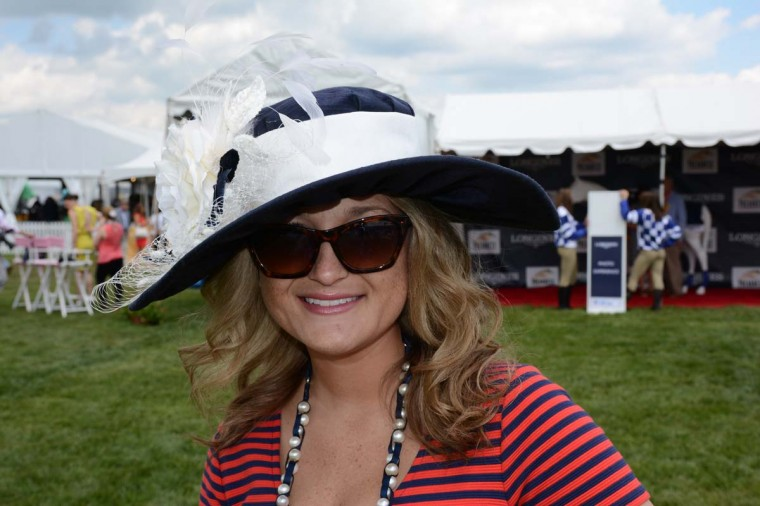 Channing James, 26, Lancaster, Penn., Penn State Hershey Medical NICU social worker. She borrowed her black and white number from cousin Beth Boots-Workman, who had worn it to a previous Preakness. (Sloane Brown/For the Baltimore Sun)