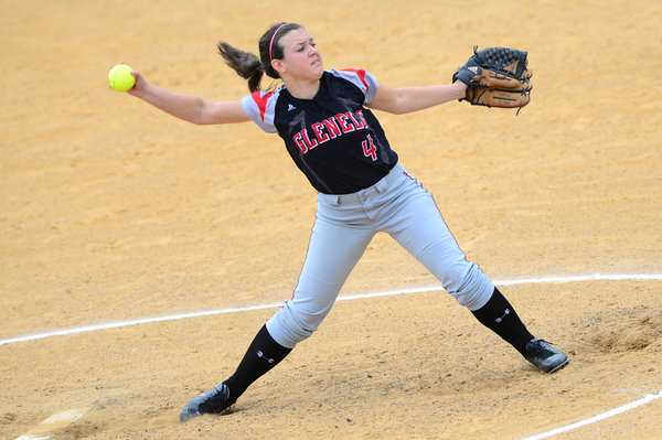 Glenelg's Colleen Regan pitches during the regional championship game against Mt. Hebron Thursday, May 15. (Matt Hazlett, Baltimore Sun Media Group)