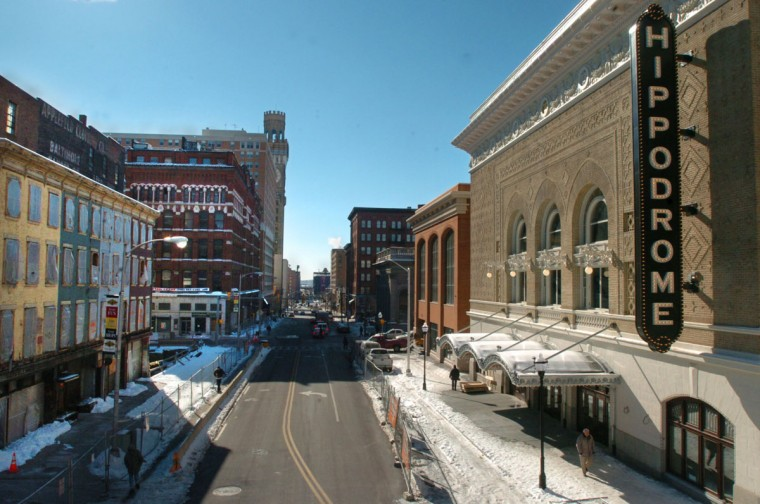 This is a view down Eutaw Street taken between Fayette and Baltimore streets in 2004. (Sun photo by Algerina).