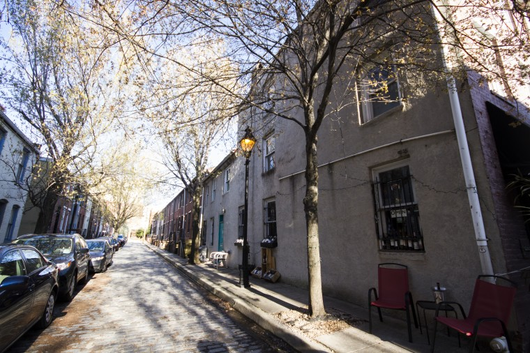 Dover Street looking east in Ridgely's Delight. (Kalani Gordon/The Baltimore Sun)