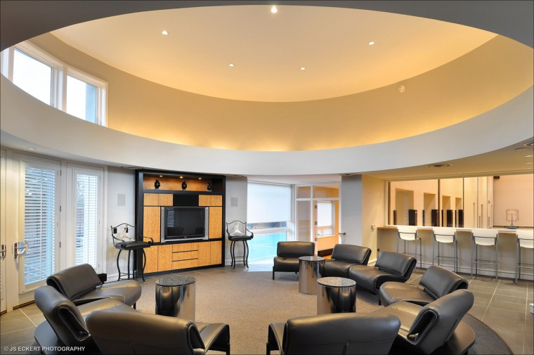 This lounge area is located just outside Michael Jordan's personal NBA regulation size NBA basketball court located to the right of the picture. (JS Eckert Photography)