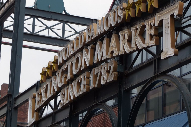 The sign outside Lexington Market at Eutaw Street in 2014. (Baltimore Sun photo by Karl Merton Ferron)