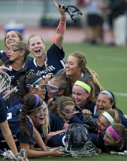 Severna Park players celebrate after winning the MPSSAA 3A/4A Girls Lacrosse Championship game between Severna Park and Catonsville at UMBC Stadium in Catonsville. (Scott Serio/For BSMG)