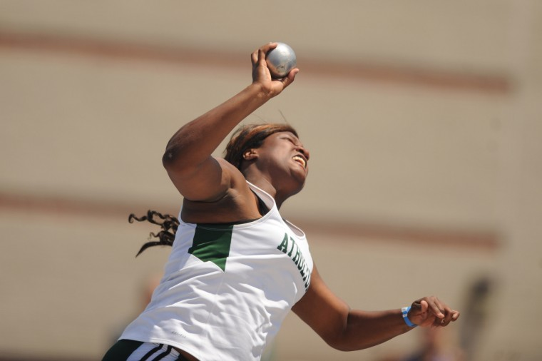 Atholton's Briana Taborn makes a throw in the 3A girls shot put event during the 2014 track and field state championships at Morgan State University. (Brian Krista/BSMG)