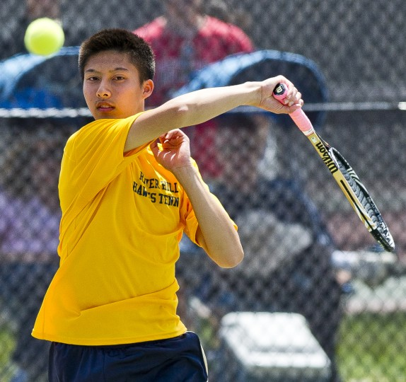 River Hill's Nic Zhu returns a shot during the MPSSAA State Tennis Championships at Cole Tennis Courts on the University of Maryland campus in College Park. River Hill's Nic Zhu and Prateek Swamykumar defeated Tuscarora's Nathan Homon and Luke Shuck 7-6, 6-3 to win the boys doubles title. (Scott Serio/For BSMG)